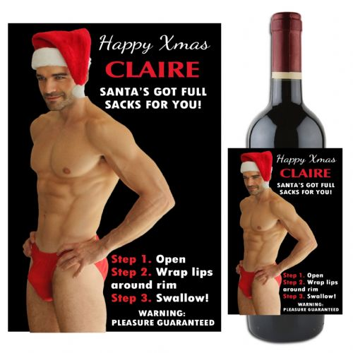 Personalised Happy Christmas Sexy Man Joke Novelty Wine / Champagne Bottle Label N100